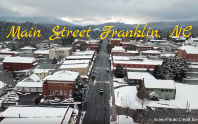 Floating Over Franklin, NC & Cowee Valley In The Snow